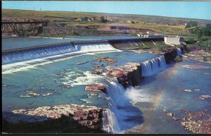 3220) Montana GREAT FALLS Rainbow Falls and Dam on the Missouri - Chrome