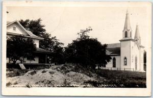 Clarence, Iowa RPPC Real Photo Postcard German Evangelical Church 1915 Cancel