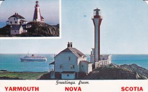 YARMOUTH, Nova Scotia, Canada, 1940-1960's; The Old And The New Yarmouth Ligh...
