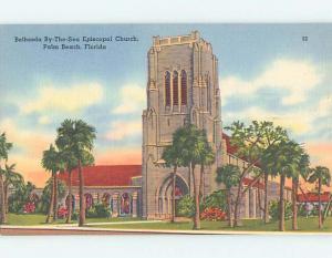 Unused Linen CHURCH SCENE Palm Beach Florida FL L4735