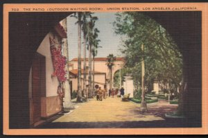 CA LOS ANGELES Patio Outdoor Waiting Room Union Station pm1944 APO US Army LINEN
