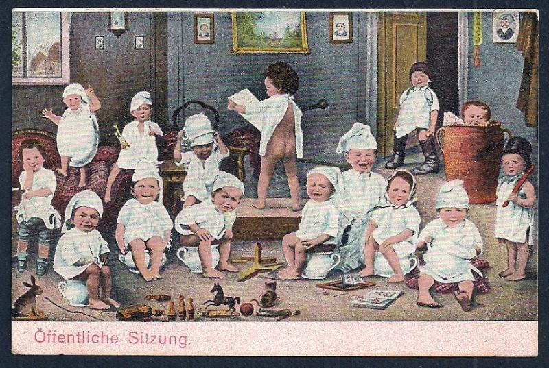 Public Meeting Babies Sitting on Chamber Pots unused c1905