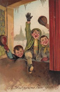 NEW YEAR, 1911; Boys sending greetings thru window,  PFB 9623