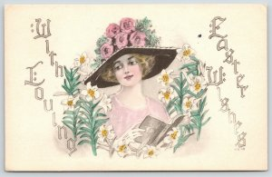 Easter~Lovely Lady w/ Hymnal~Rose Flower Hat~Lilies~Handcolored Artist~G&B 1913