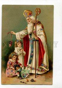 288768 CHRISTMAS Girls Doll ST.NICHOLAS Santa Claus Vintage PC