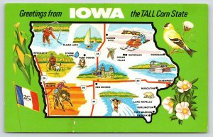 Iowa State Postcard Map~Six Sports~Hunting~Rodeo~Fishing~Snow Mobiling~Ski~1970s