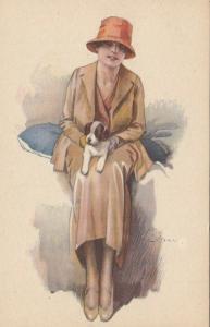 A. TERZI ; Art Deco Female Portrait with dog, 1910s ; #3