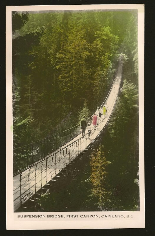 Suspension Bridge First Canyon Capilano BC Gowen Sutton Unposted Postcard