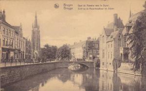 Quai Du Rosaire Vers Le Dyver, Small Bridge, Bruges (West Flanders), Belgium,...