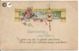 Chateau Rose Pink Rose Bouquet Yellow Black Checkered Curtains Vintage Postcard