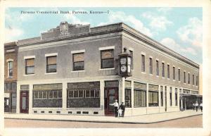 Parsons Kansas Commercial Bank Street View Antique Postcard K28200