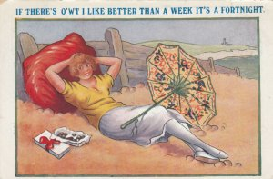 COMIC; 1900-10s; Woman on Fortnight vacation relaxing on beach with chocolates