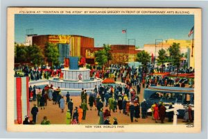 1939 New York World's Fair - Fountain of the Atom, Contemporary Arts Postcard