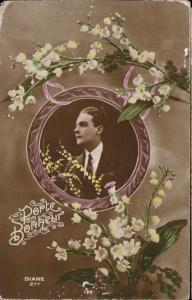 Elegant Man Muguet framed portrait nostalgic Lilly of the Valley  Porte Bonheur