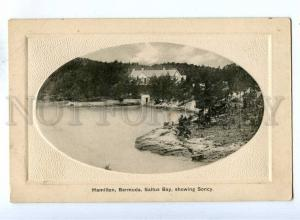 192700 BERMUDA HAMILTON Saltus Bay Vintage embossed postcard