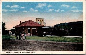 Railroad Station Rockland MA depot steam locomotive train c1917