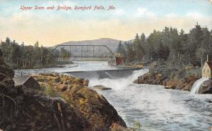 Rumford Falls Maine~Upper Dam & Through Truss Bridge~Mill~1907 Postcard