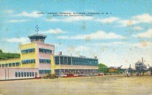 Curacao Hato Airport Terminal Building Vintage Linen Postcard 07.32