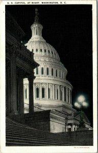 Vintage 1935 US Capitol at Night Washington DC Postcard
