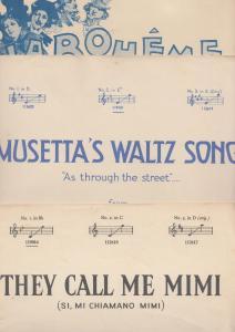 They Call Me Mimi La Boheme Puccini 3x Vintage 1950s Sheet Music