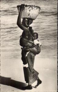 Dakar Senegal Native Black Woman on Beach w/ Baby Real Photo Postcard