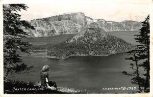 RPPC CRATER LAKE Oregon Eastman #B-1783 Photo c1940s Vintage Postcard
