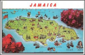 Jamaica Map Postcard