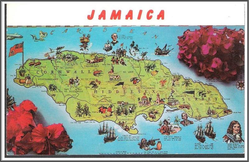 Jamaica Map Postcard