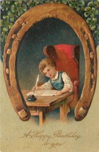 Horseshoe Portal~Boy Writing Desk~Feather Quill~Inkwell~Emboss~United Art~1908