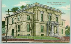 Cannelton Indiana~Perry County Courthouse~Fence Along Sidewalk~c1910 Postcard