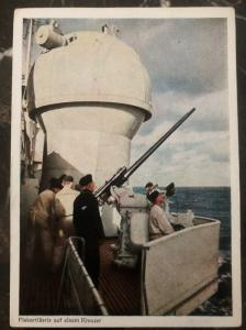 Mint Germany Color Picture Postcard RPPC  flakartillerie On Cruiser Battle Ship