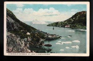 Newfoundland Postcard - Icebergs At Entrance To St. John's Harbour Unused