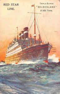 Red Star Line Belgenland Steamship Vintage Postcard JA454584