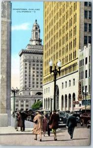 Oakland, California Postcard DOWNTOWN Street Scene Kropp Linen c1940s Unused