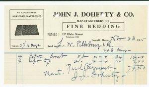 1916 Billhead, JOHN J. DOHERTY & CO., Fine Bedding, Lowell, Massachusetts