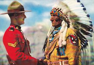 Canada Royal Canadian Mountie and Indian Chief Sitting Eagle