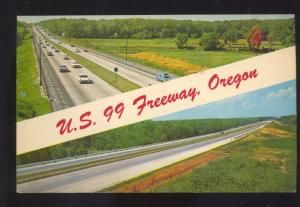 U.S. 99 FREEWAY OREGON 1960's CARS VINTAGE POSTCARD SALEM OREG. ADRIAN MISSOURI
