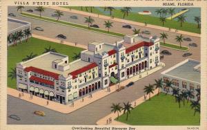 Villa D'Este Hotel, Overlooking Beautiful Biscayne Bay, MIAMI, Florida, 1930-...