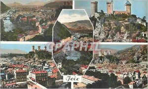 Modern Postcard Panorama Foix Le Chateau Fort Valley of Ariege City Entrance