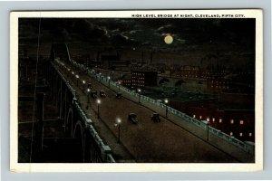 Cleveland OH-Ohio, High Level Bridge At Night, Moon, Vintage Postcard
