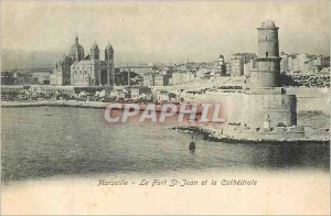 Old Postcard Marseille Fort St John and the Cathedral
