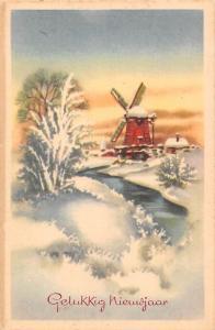Gelukkig Nieuwjaar! New Year Greetings! Windmill, Winter River Landscape