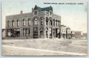 Kingsley Iowa~Arch Windows~Payne Bros Bank~Gents Furnishings Store~Bluesky c1910