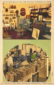 St Petersburg FL Lee Hayman Woodcraft Shop Duo View Hartman Linen Postcard