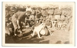 RPPC WWI US Army Base Wrestling Match Real Photo Postcard *5W3