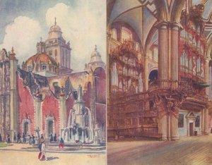 El Sagrario Y Catedral Mexico Interior 2x Old Painting Postcard s