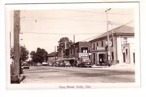 Real Photo, KIng Street, Delhi, Ontario, 40's Cars