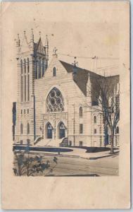Vintage RPPC Photo Postcard Catholic Church Building w/ 1908 MODALE Iowa Cancel