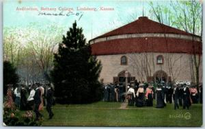 Lindsborg, Kansas Postcard Auditorium, BETHANY COLLEGE Building View c1910s