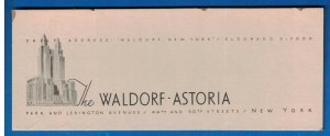 1930's / 40's Cardboard Sign - The Waldorf Astoria, New York, NY A2